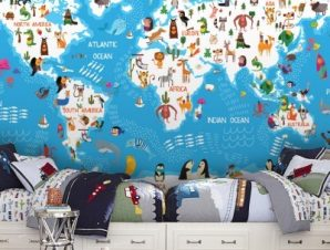 Χάρτης με τις θάλασσες Παιδικά Ταπετσαρίες Τοίχου 65 x 130 cm