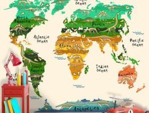 Χάρτης Με Δεινoσαύρους Παιδικά Ταπετσαρίες Τοίχου 94 x 120 cm
