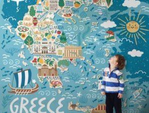 Ελληνικός Χάρτης Παιδικά Ταπετσαρίες Τοίχου 120 x 120 cm