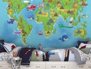 Μικρός παγκόσμιος χάρτης Παιδικά Ταπετσαρίες Τοίχου 86 x 120 cm