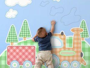 Παιδικό τρενάκι Παιδικά Ταπετσαρίες Τοίχου 100 x 100 cm