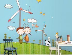 Παιδιά σε ανεμογεννήτριες Παιδικά Ταπετσαρίες Τοίχου 109 x 85 cm