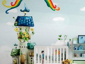 Σπίτια σε σύννεφα Παιδικά Ταπετσαρίες Τοίχου 83 x 115 cm