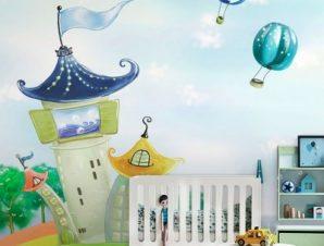 Σπίτια σε ουράνιο τόξο Παιδικά Ταπετσαρίες Τοίχου 83 x 115 cm