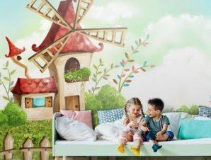 Σκηνικό με μύλο Παιδικά Ταπετσαρίες Τοίχου 84 x 120 cm