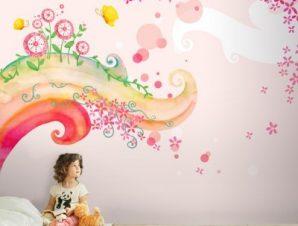 Παραμυθένιο ροζ σκηνικό Παιδικά Ταπετσαρίες Τοίχου 81 x 115 cm