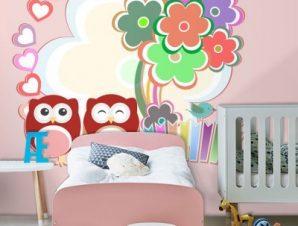 Ροζ κουκουβάγιες Παιδικά Ταπετσαρίες Τοίχου 85 x 100 cm