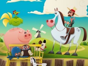 Αγρότης στην εξοχή Παιδικά Ταπετσαρίες Τοίχου 103 x 110 cm