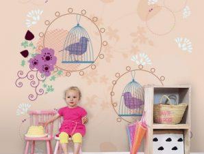 Πουλιά με κλουβιά Παιδικά Ταπετσαρίες Τοίχου 100 x 100 cm