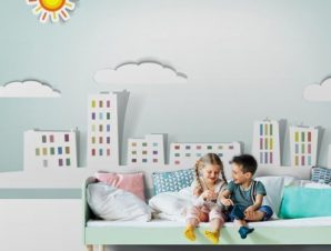 Άσπρη πόλη Παιδικά Ταπετσαρίες Τοίχου 78 x 140 cm