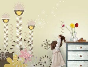 Καφέ λουλούδια Παιδικά Ταπετσαρίες Τοίχου 104 x 100 cm