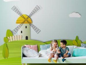 Μύλος σε λιβάδι Παιδικά Ταπετσαρίες Τοίχου 113 x 95 cm