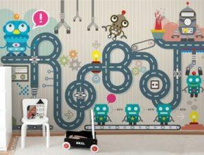 Εργοστάσιο ρομπότ Παιδικά Ταπετσαρίες Τοίχου 79 x 130 cm