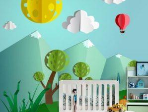 Ηλιόλουστη μέρα στο δάσος 3d Παιδικά Ταπετσαρίες Τοίχου 100 x 100 cm