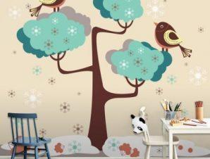Πουλιά σε δέντρο Παιδικά Ταπετσαρίες Τοίχου 100 x 100 cm