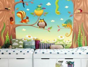 Αστεία ζώα σε κλαδιά Παιδικά Ταπετσαρίες Τοίχου 83 x 120 cm