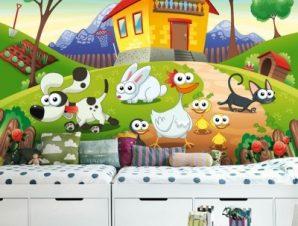 Φάρμα με ζωάκια Παιδικά Ταπετσαρίες Τοίχου 100 x 100 cm