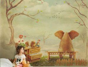 Στοχαστικό ελεφαντάκι Παιδικά Ταπετσαρίες Τοίχου 100 x 100 cm