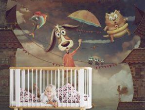 Σκυλάκι πετάει Παιδικά Ταπετσαρίες Τοίχου 100 x 100 cm