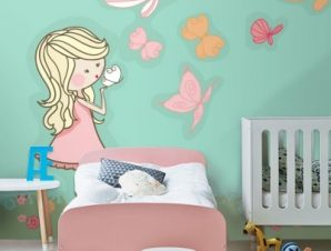 Κοριτσάκι με πεταλούδες Παιδικά Ταπετσαρίες Τοίχου 100 x 100 cm