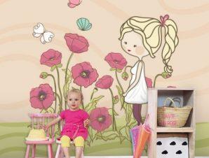 Κοριτσάκι με λουλούδια Παιδικά Ταπετσαρίες Τοίχου 100 x 100 cm