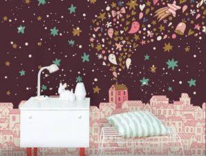 Νυχτερινή ροζ πόλη Παιδικά Ταπετσαρίες Τοίχου 100 x 100 cm