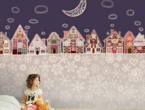 Χιονισμένο χωριό Παιδικά Ταπετσαρίες Τοίχου 100 x 100 cm