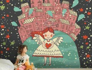 Κοριτσάκι αγγελούδι Παιδικά Ταπετσαρίες Τοίχου 100 x 100 cm