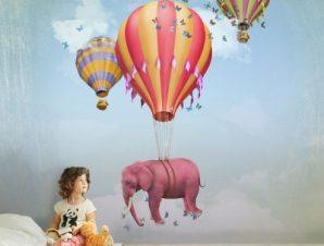 Ροζ ελεφαντάκι σε αερόστατο Παιδικά Ταπετσαρίες Τοίχου 108 x 95 cm