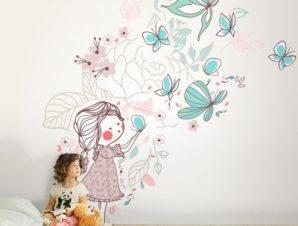 Κοριτσάκι φυσάει πεταλούδες Παιδικά Ταπετσαρίες Τοίχου 100 x 100 cm