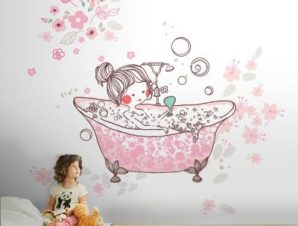 Κοριτσάκι κάνει μπάνιο Παιδικά Ταπετσαρίες Τοίχου 100 x 100 cm