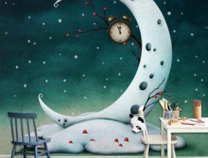Χιονισμένο φεγγάρι Παιδικά Ταπετσαρίες Τοίχου 100 x 100 cm