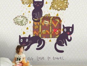 Ταξιδιάρικες γάτες Παιδικά Ταπετσαρίες Τοίχου 100 x 100 cm