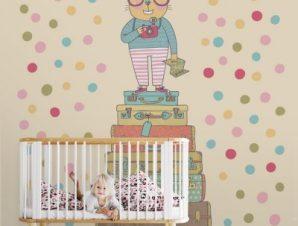 Γάτος με γυαλιά Παιδικά Ταπετσαρίες Τοίχου 100 x 100 cm