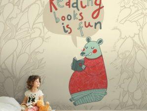 Το διάβασμα είναι διασκεδαστικό Παιδικά Ταπετσαρίες Τοίχου 100 x 100 cm
