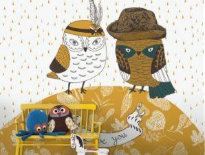 Γλυκές κουκουβάγιες Παιδικά Ταπετσαρίες Τοίχου 100 x 100 cm