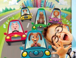 Ζώα στον αυτοκινητόδρομο Παιδικά Ταπετσαρίες Τοίχου 100 x 100 cm