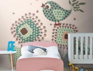 Πουλί ρετρό Παιδικά Ταπετσαρίες Τοίχου 100 x 100 cm