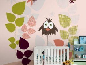 Πουλί και λιβελούλες Παιδικά Ταπετσαρίες Τοίχου 100 x 100 cm