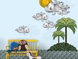 Νησί Παιδικά Ταπετσαρίες Τοίχου 120 x 85 cm