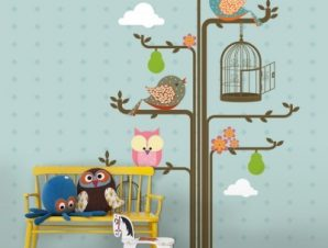 Πουλιά σε κλαδιά δέντρου Παιδικά Ταπετσαρίες Τοίχου 120 x 85 cm