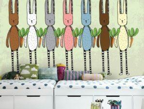 Κουνέλια και καρότα Παιδικά Ταπετσαρίες Τοίχου 85 x 120 cm