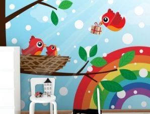 Οικογένεια πουλιών σε ουράνιο τόξο Παιδικά Ταπετσαρίες Τοίχου 100 x 100 cm