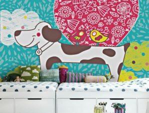 Χαριτωμένο σκυλάκι Παιδικά Ταπετσαρίες Τοίχου 100 x 100 cm