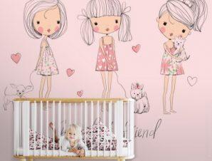 Χαριτωμένα κοριτσάκια Παιδικά Ταπετσαρίες Τοίχου 91 x 115 cm