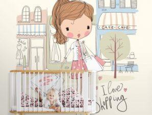Μοντέρνο κορίτσι Παιδικά Ταπετσαρίες Τοίχου 103 x 100 cm