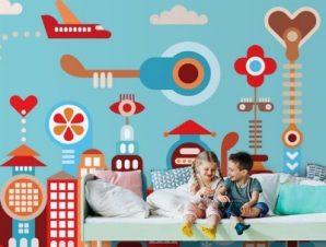 Φανταστική πόλη Παιδικά Ταπετσαρίες Τοίχου 78 x 130 cm