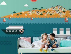 Καραβάκια Παιδικά Ταπετσαρίες Τοίχου 86 x 120 cm