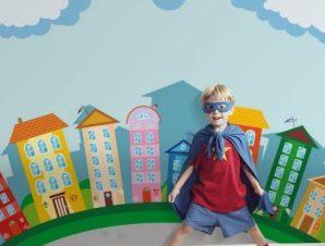 Πολύχρωμα σπίτια Παιδικά Ταπετσαρίες Τοίχου 100 x 100 cm