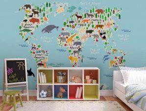 Χάρτης με ζώα Παιδικά Ταπετσαρίες Τοίχου 89 x 115 cm